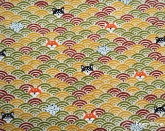 Cute Kimono Fabric -Wave Pattern Dogs on Brown - Half Yard (nu170418)