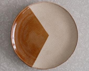 hilda flack plate, vintage 90s modern decor, terra cotta late, designer serving plate, geometric minimalist pattern, brown and white