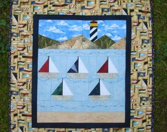 Nautical Sailboat with Lighthouse Scene Quilted Wallhanging