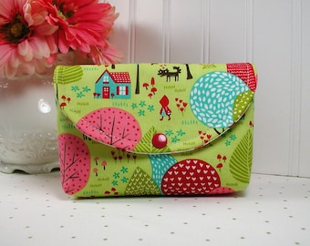 Snap Pouch / Large Snap Pouch / Cosmetic Pouch ... Lil' Red Grandmother's House in Sprig