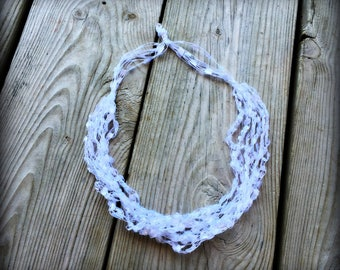 Ladder Yarn Necklace, Snow White Ribbon Necklace, Crocheted Ribbon Necklace, Fiber Jewelry/CLASSY Snow White Ladder Necklace (Ready to Ship)