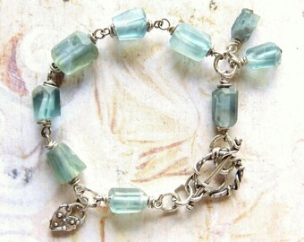 Sea Green - Handmade Oxidized Sterling Silver and Matte Fluorite Nugget Bead, Wire Wrapped Artisan Bracelet with Gift Box
