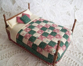 One Half Inch Scale, Hand Made Bed with Pieced Quilt attached.