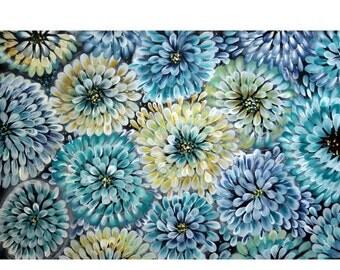 Abstract ORIGINAL Painting Hydrangeas Flowers Acrylic on Canvas Modern Floral Artwork Blue Cream Aqua Turquoise