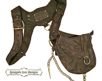 Leather holster bag, burning man, mad max, tank girl, distressed,:Renegade Icon Design anti purse