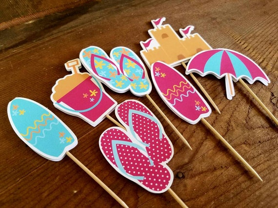 Beach Party - Set of 24 Double Sided Assorted Beach Fun Cupcake Toppers by The Birthday House