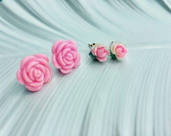 Earrings 2 Pairs Pink Vintage Rose Earrings. Pink Post Earrings. Romantic Rose Shabby Chic Pink Cabbage Roses. Pink Jewelry Earring Gift Set