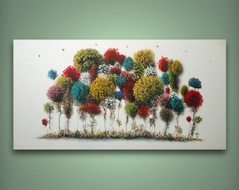 Whimsical painting of trees, large original art 48x24, whimsical art, colorful trees on canvas, colorful trees painting, original artwork