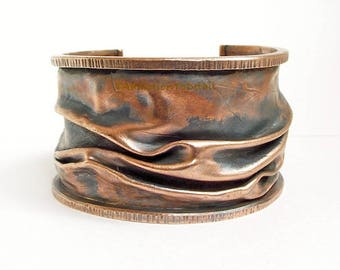 """Copper Cuff Bracelet, Hammered Cuff, Artisan Copper, Unique Cuff, Crushed Metal, Forged Jewelry, Anniversary Gift, 1 5/8"""" Textured Bracelet"""