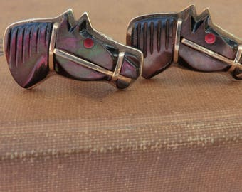 Vintage Horse with Bridle Cufflinks Carved Mother of Pearl Gold Tone Metal