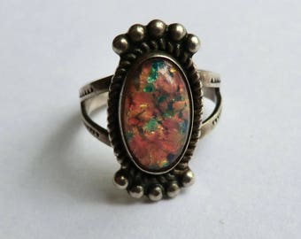 Vintage Sterling Dragon Breath Opal Ring Southwest Hippie Boho Ring Size 7.5