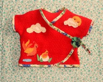 happy wrap topper with little bird family felt applique