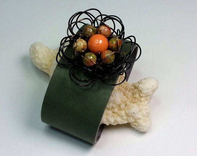 Adjustable Black Wire Daisy Flower on Moss Green Leather Cuff with Unakite