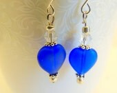 Cobalt Blue Heart Earrings, Blue and Silver, Dangle Earrings, Handcrafted Jewelry, Heart Jewelry