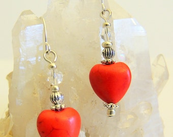 Red Heart Dangle Drop Earrings, Sweetheart Gift