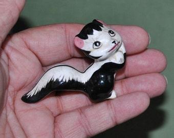 Vintage Miniature Skunk Figurine Porcelain