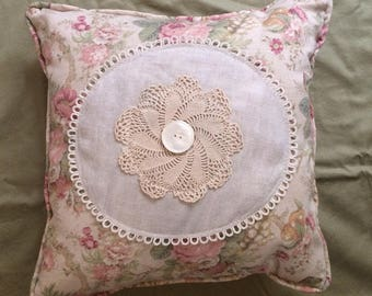 Vintage Linen Doily Pillow with rose print Waverly Linen, Vintage Buttons and polka dot linen back