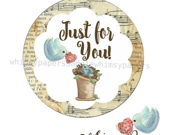 """Blue Bird Love """"Just for You"""" Gift stickers, Bird Labels, Custom Gift Labels"""
