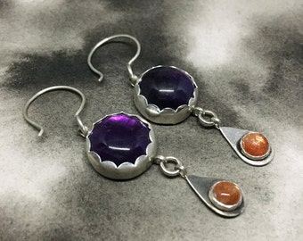 Catherine's Garden sterling silver earrings with dark purple amethyst and bright orange sunstone