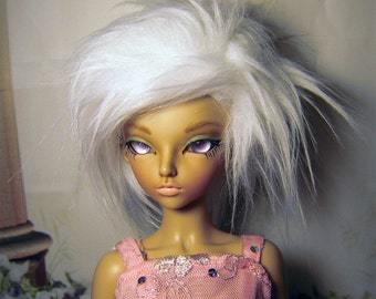 White fake fur size 6-7 wig for Minifee, 1/4 bjd DOLL