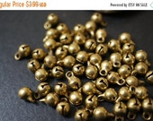 MARCH DEALS SALE - Raw Brass Small Bell Charms - 5mm with tip is 7mm - 30 pcs