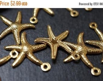 MAY SALE CLOSEOUT Sale - High Quality Solid Raw Brass Starfish Charm Pendants - 22mm - 10 pcs