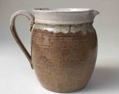 """6.5"""" Rustic Stoneware Pitcher in Brown and White, Serving Pitcher, Art and Collectibles, Kitchen, Home Decor, Water Pitcher, Sangria Pitcher"""