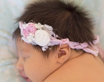 Baby Headband..floral baby tie back ...YOur Choice of Headband....Newborn Collection...Headband Collection
