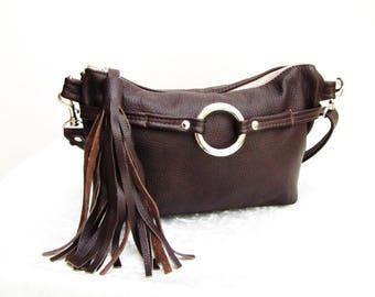 Brown Leather Fanny Pack with Tassel can be converted to shoulder purse and cross-body bag
