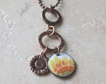 Sunflower Necklace, Sunflower Charm Necklace, Copper Sunflower Necklace, Enamel Sunflower Necklace, Sunflower Charms, Copper Enamel Necklace