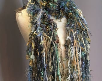 Knit Art Scarf, Dumpster Diva Series 'Grass Roots' Novelty acrylic fringed fur-like scarf, short scarves, blue green, fringed scarf, fashion