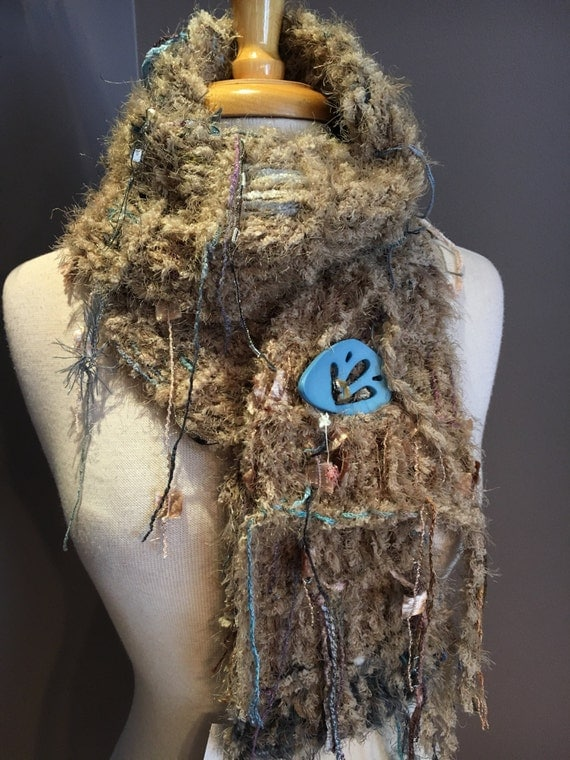 Handmade Knit Fringe Scarf with Button, Dumpster Diva, Warm Shanghai, handmade tan blue scarf, brown fashion, fluffy scarves, boho chic