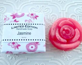 Jasmine Handmade Shea Soap, Gentle soap recipe, flower shaped soap, pink soap