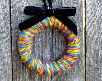 Wool Mini Wreath Ornament - Multi wool with Black Velvet Ribbon