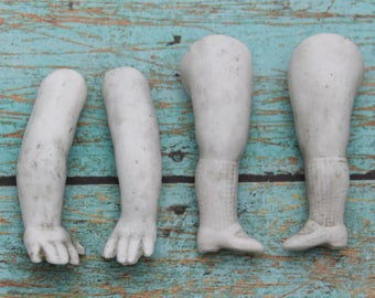Antique Doll Arms and Legs, Vintage Doll Arm and Legs, Steam Punk Jewelry, Steampunk Findings, Steampunk Supply, Porcelain Dolls