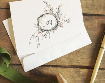 Joy wreath note card, white, digital illustration, holiday