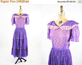 50% OFF SALE // 1950s sheer dress | purple cowgirl sheer party dress | vintage 50s dress | W 27""