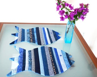 Fish Placemats China Blue Reversible Dinner Placemats Blue Multicolor Batik and Print Fabric Set of Two