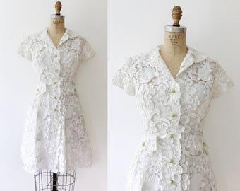 vintage lace dress / white lace dress / Lace Tape Tulip dress