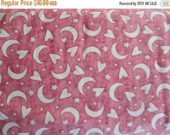 Sale Pink Moon and Stars Fabric - Quilting Treasures - Expressions of Faith - 23608C