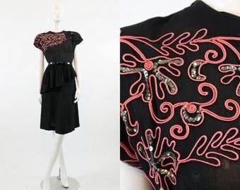40s Dress Sequin Soutache XS  / 1940 Vintage Dress Rayon / Coral Confection Dress