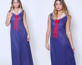 Vintages 70s NAUTICAL Dress Navy Blue POLKA DOT Sailor Dress Novelty Maxi Dress