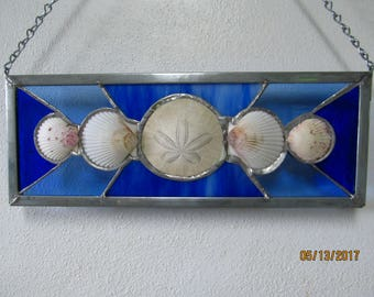 Sanddollar and Scallop Stained Glass Panel in Blue