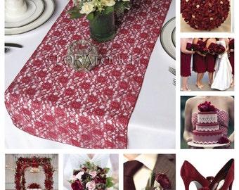 Burgundy Lace Table Runner Wedding Table Runner