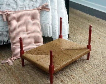 Upcycled pet bed, hand made vintage doll bed as small dog or cat bed