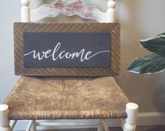 "Handmade barn wood chalkboard ""Welcome"" sign, wall or shelf decor, wedding, housewarming gift, rustic decor"