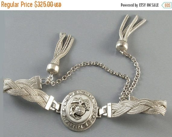 SPRING CLEANING SALE Vintage Ww2 military militaria Usmc Marine Corps sweetheart woven mesh tassel slide bracelet sterling silver