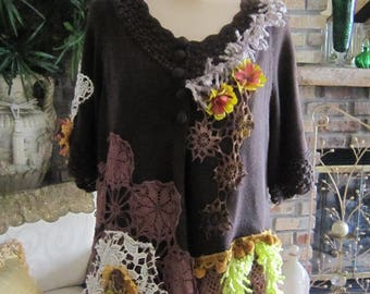 Art to Wear Sweater, Brown Shabby Chic, Boho, Embellished Top,  Woodland, Fantasy, Vintage Lace, Unique , Romantic.