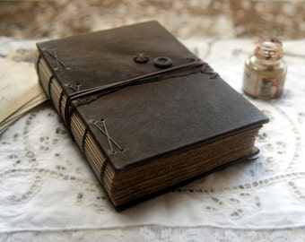 Reflections - Brown Leather Journal, Aged Paper - OOAK