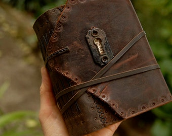 Through The Keyhole - Rustic Leather Journal, Vintage Escutcheon, Over 380 Tea Stained Pages, OOAK